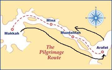 Peta Arafah-Mina-Mekah