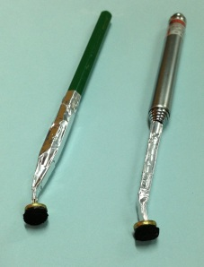 A pencil and ball pen styluses